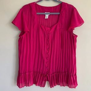 Womens Accordion Pleat Magenta Top Blouse XL
